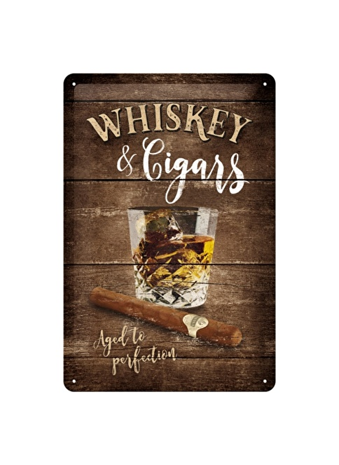 Nostalgic Art Whiskey Cigars Metal Pano Renkli